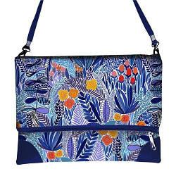 Синяя сумка через плечо женская с принтом Фантазия цветочная