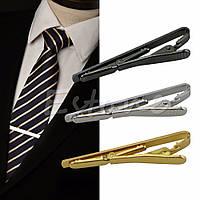 Зажим для галстука металлический золотистый