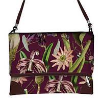 Бордовая сумка через плечо женская с принтом Цветник