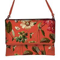 Коралловая сумка через плечо женская с принтом Цветник