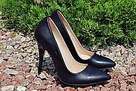 Женские туфельки-лодочки черные натуральная кожа