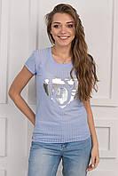 Стрейчевая женская футболка с принтом сердце