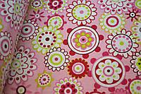 "Польская хлопковая ткань ""цветы в кружочках на розовом"""