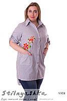 Хлопковая туника-рубашка с вышивкой синяя полоска