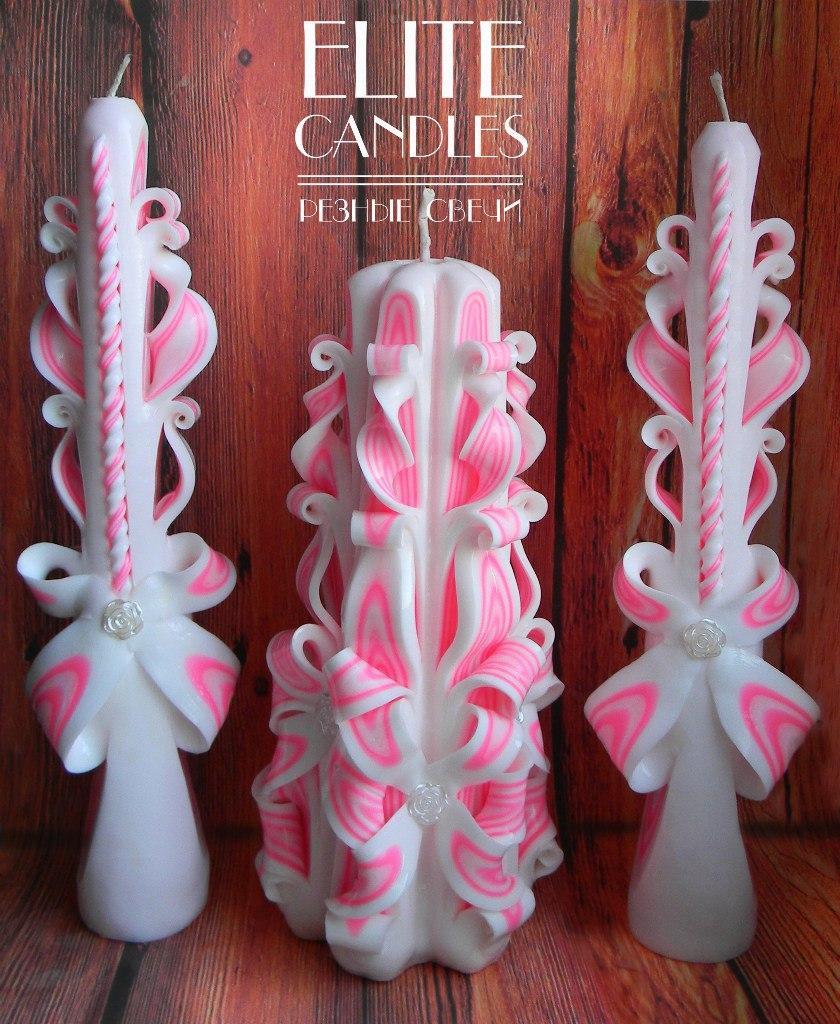 Різьблені весільні свічки - рожевий колір, ціна виробника.