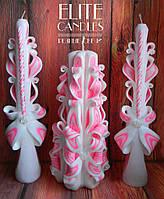 Резные свадебные свечи - цвет розовый, цена производителя.