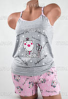 Женский комплект майка с шортами Турция. Night Angel 5160 S/M. Размер 42-44.