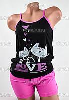 Женский комплект майка с шортами Турция. Night Angel 5265 S/M. Размер 42-44.