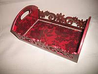 """Деревянная конфетница ручной работы бордового цвета """"Кружева"""", фото 1"""