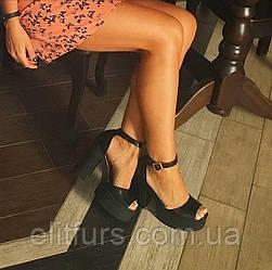Босоножки на каблуке в черном цвете натуральная кожа