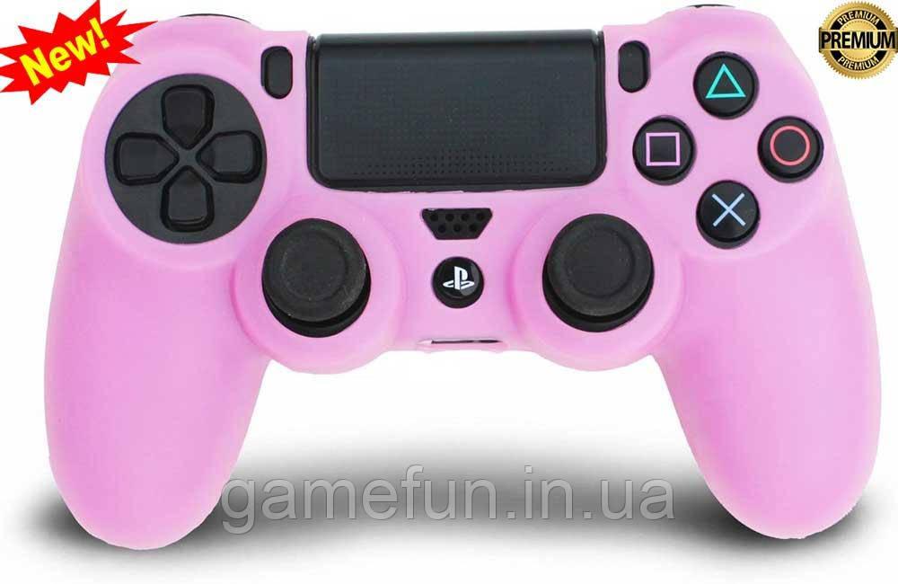Силиконовый чехол для джойстика PS4 (Розовый)