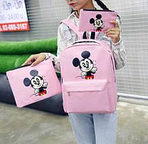 Мультяшный набор 3в1 Микки Маус, рюкзак, сумка, клатч, фото 3