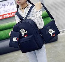 Мультяшный набор 3в1 Микки Маус, рюкзак, сумка, клатч, фото 2
