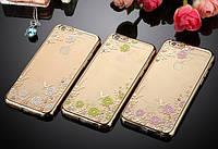 Силиконовый чехол для iPhone 5 5S SE с камнями Swarovski