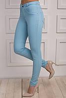 Молодежные зауженные брюки голубого цвета с завышенной талией