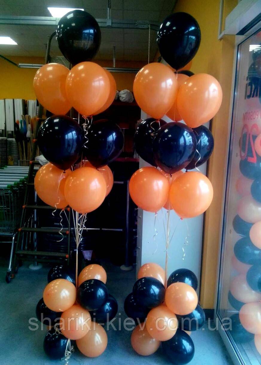 Фонтан из 10 шаров оранжевый и черный