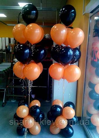 Фонтан из 10 шаров оранжевый и черный, фото 2