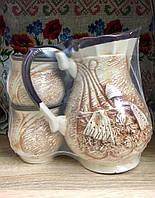 Керамический кувшин + 2 чашки