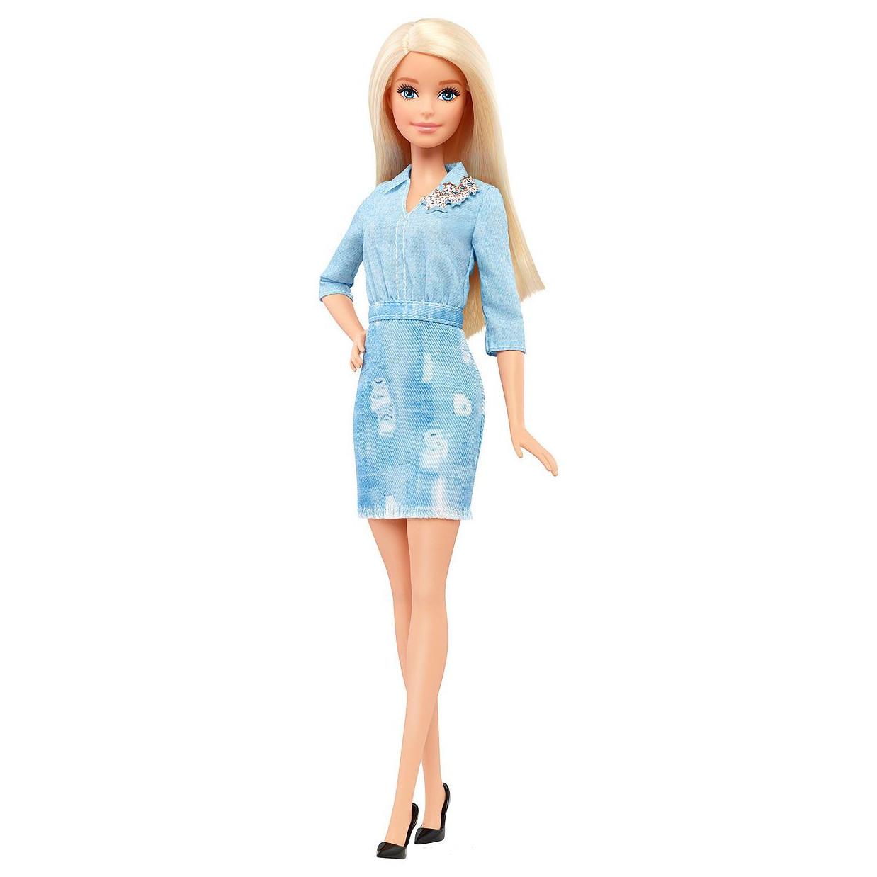 Кукла Барби модница в джинсовом голубом платье  Barbie Fashionistas Doll 49 Double Denim Look