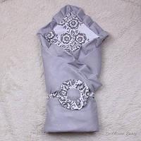 """Летний конверт-одеяло на выписку """"Богемия"""" серый"""
