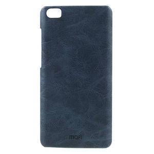 Чехол накладка для Xiaomi Mi Note пластиковый с кожаной вставкой, MOFI, темно-синий