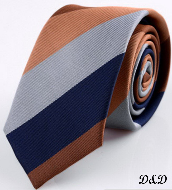 Галстук SHENNAIWEI коричнево-серая полоска