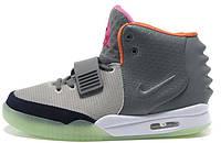 Мужские высокие кроссовки Nike Air Yeezy 2 Grey Green Orange Найк Аир Изи серые