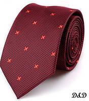 Галстук SHENNAIWEI бордовый мелкий цветочек