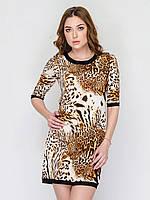 Женское платье прямого кроя, без застежек, с леопардовым принтом 90149/2, фото 1