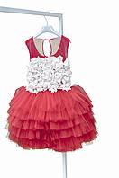 Нарядное  платье для девочки ЛЕБЕДЬ, с белым кружевным корсетом и пышной юбкой