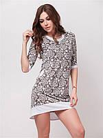 Удобное летнее женское платье с белыми вставками и карманами 90152