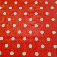 Салфетки красные в горошек 15 штук