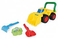Игрушечный бульдозер с игрушками для песка