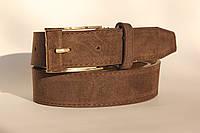 Качественный ремень-полоска женщинам, цвет - коричневый, 81/65 (цена за 1 шт. + 16 гр.)