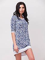 Удобное летнее женское платье с белыми вставками и карманами 90152/1
