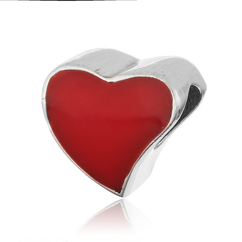 """Серебряный шарм с эмалью """"Красное сердце"""""""