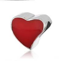 """Серебряный шарм с эмалью """"Красное сердце"""", фото 1"""
