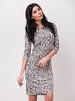 Легкое приталенное женское платье с цветочным узором, рукава 3/4, пояс в комплекте 90160