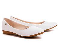 Женские белые классические балетки больших размеров 41 42 43
