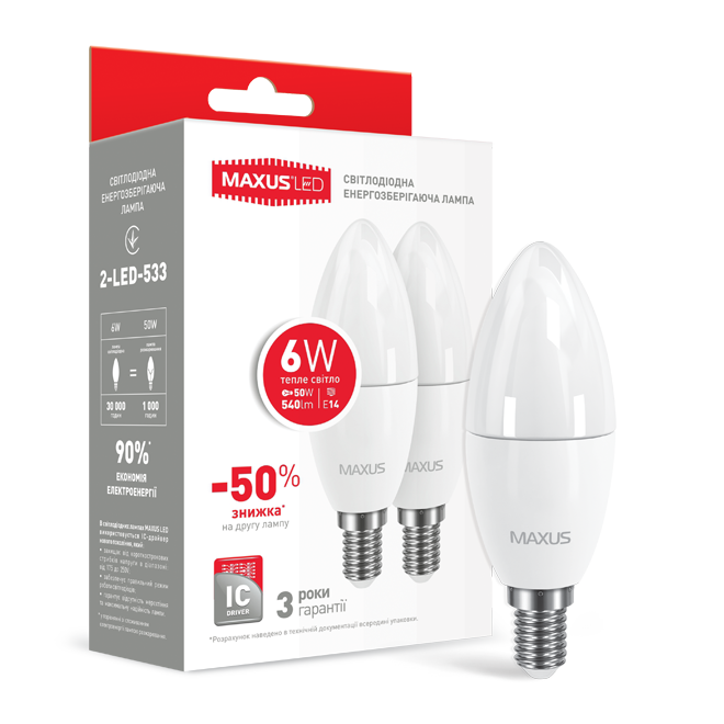 Набор LED ламп MAXUS C37 6W мягкий свет 220V E14 (по 2 шт.) (2-LED-533) (NEW)