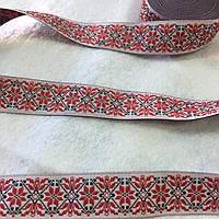 Тесьма с украинским орнаментом красная, ширина 2 см, фото 1