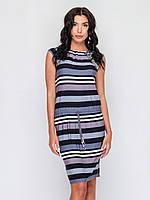Женское платье без рукавов с кулиской из трикотажа 90161