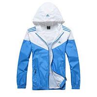 Ветровка мужская фирменная Adidas бело-голубая