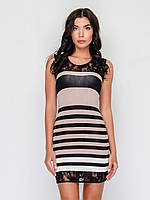 Летнее женское платье из трикотажа без застежек, со вставками гипюра 90170