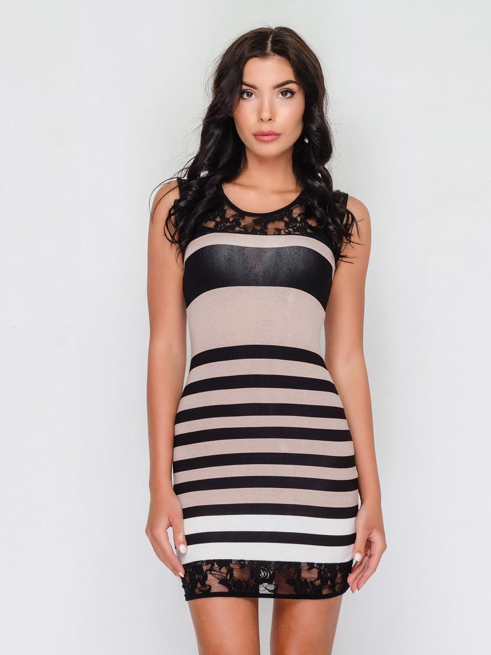 Летнее женское платье из трикотажа без застежек, со вставками гипюра 90170, фото 1