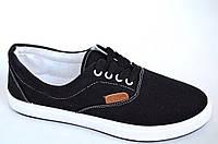 Кеды   слипоны мокасины мужские черные текстиль на шнурках популярные (Код: 1001а). Только 41р!, фото 1