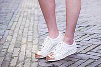 Кроссовки женские Adidas Superstar Metal/Toe White (адидас) белые