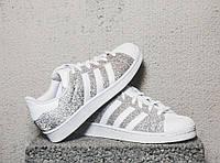Кроссовки женские Adidas Superstar Silver/White (адидас) белые