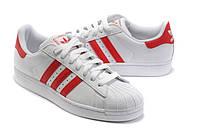 Кроссовки женские Adidas Superstar White-Red (адидас суперстар) бело-красные