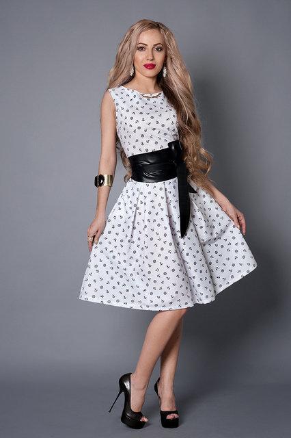 Платье мод 386-2 размер 44,46,48,50 белое в якорь